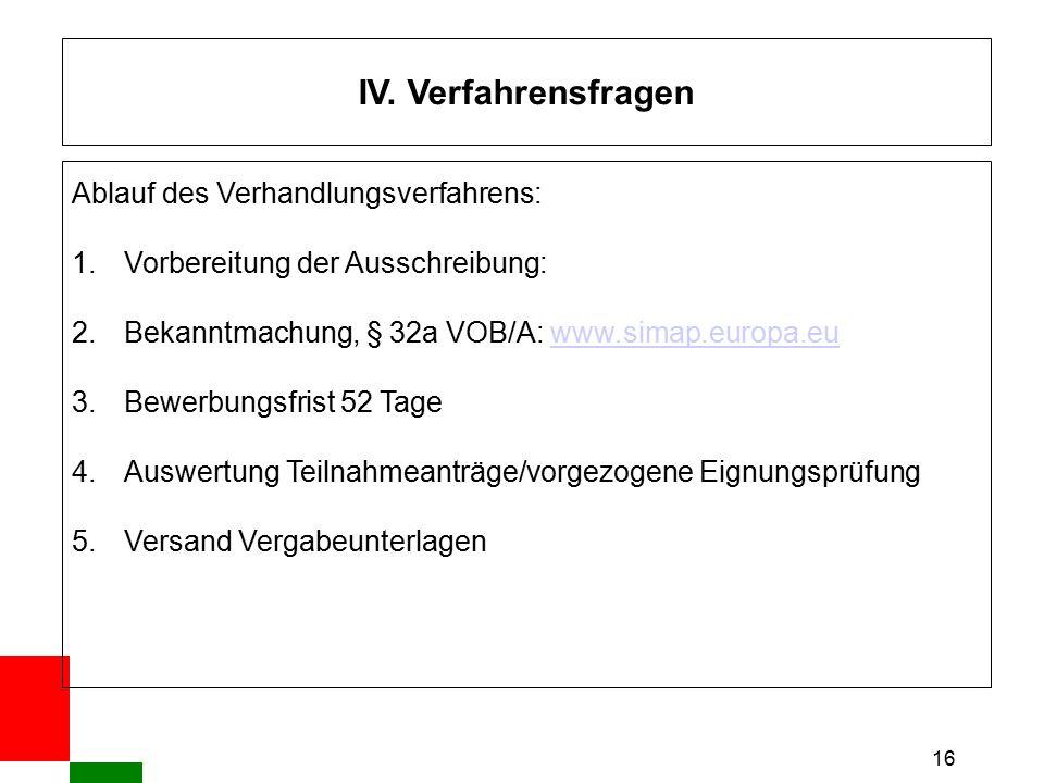 16 IV. Verfahrensfragen Ablauf des Verhandlungsverfahrens: 1.Vorbereitung der Ausschreibung: 2.Bekanntmachung, § 32a VOB/A: www.simap.europa.euwww.sim