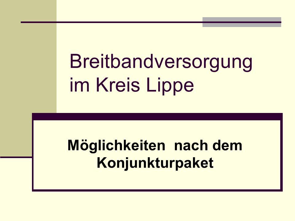 Breitbandversorgung im Kreis Lippe Möglichkeiten nach dem Konjunkturpaket