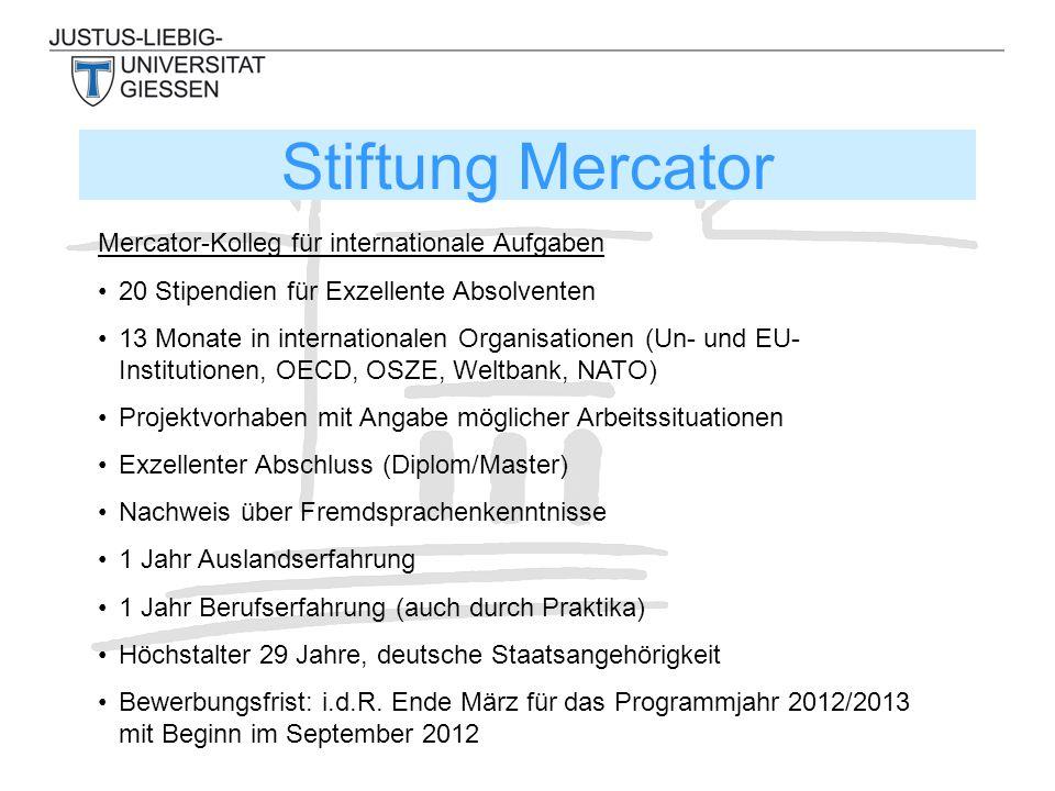 Stiftung Mercator Mercator-Kolleg für internationale Aufgaben 20 Stipendien für Exzellente Absolventen 13 Monate in internationalen Organisationen (Un