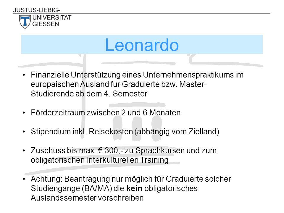 Leonardo Finanzielle Unterstützung eines Unternehmenspraktikums im europäischen Ausland für Graduierte bzw. Master- Studierende ab dem 4. Semester För