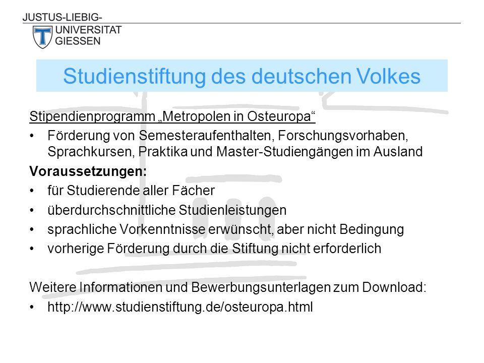 Stipendien für deutsche Studierende zur Teilnahme an Sommerschulen in Mittel- und Osteuropa und den Staaten der GUS.