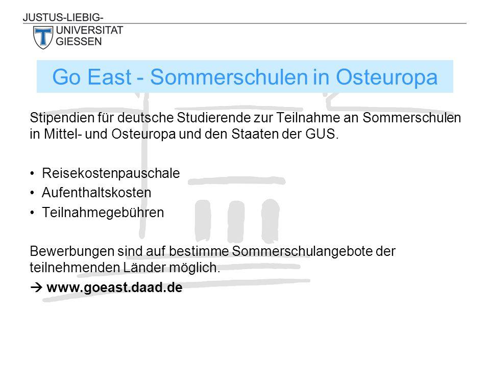 Stipendien für deutsche Studierende zur Teilnahme an Sommerschulen in Mittel- und Osteuropa und den Staaten der GUS. Reisekostenpauschale Aufenthaltsk