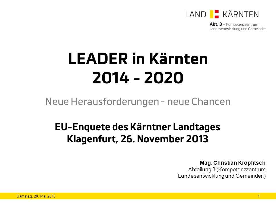 LEADER in Kärnten 2014 - 2020 Neue Herausforderungen - neue Chancen 1Samstag, 28.
