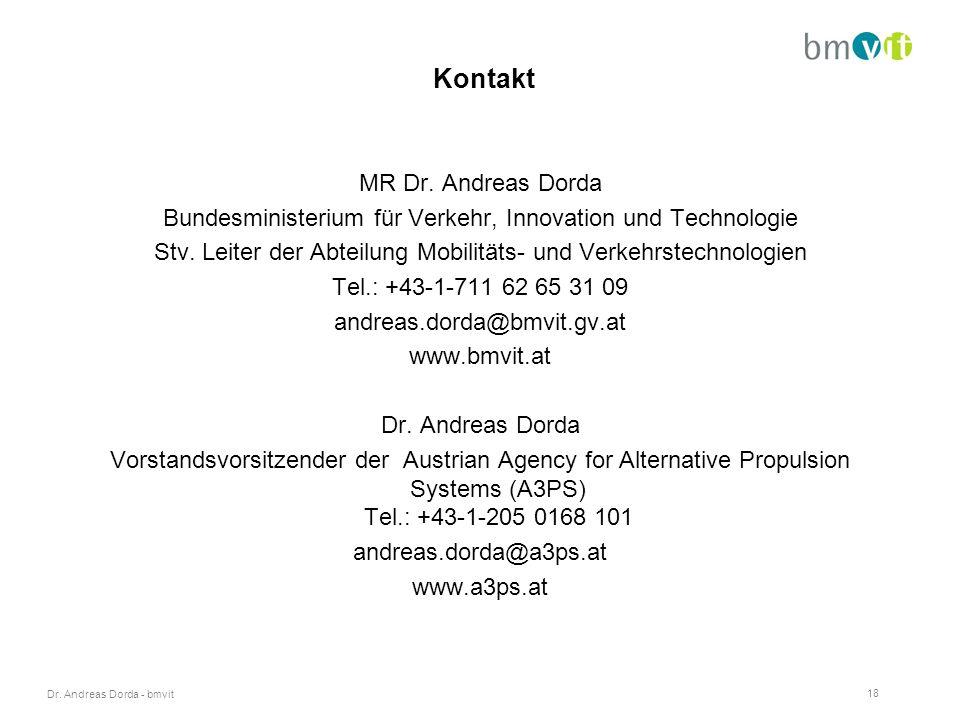 Dr. Andreas Dorda - bmvit 18 Kontakt MR Dr.