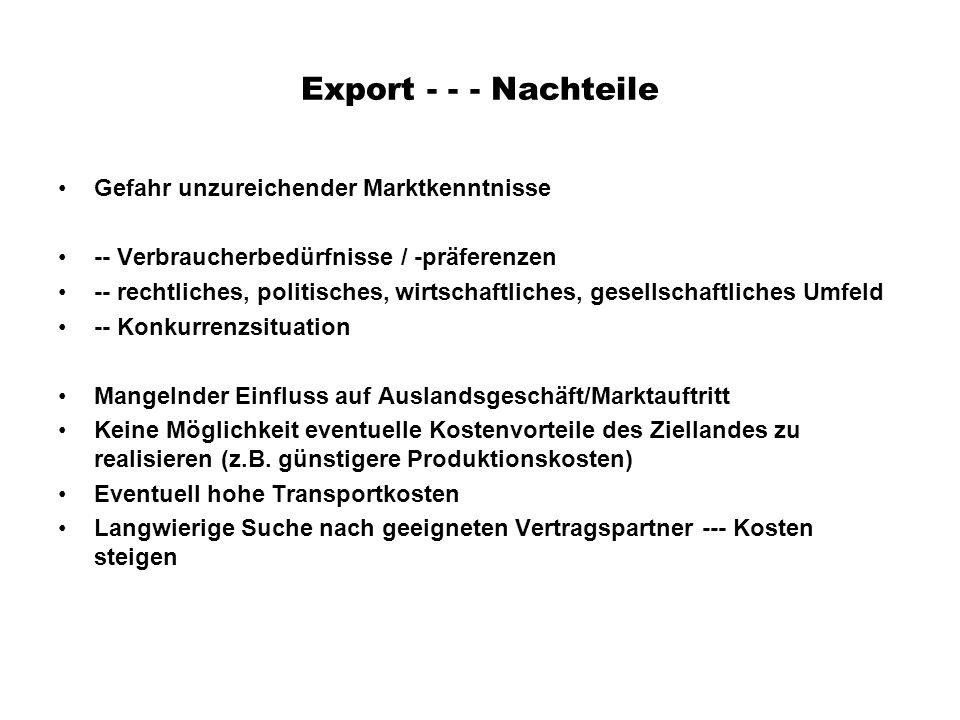Export - - - Nachteile Gefahr unzureichender Marktkenntnisse -- Verbraucherbedürfnisse / -präferenzen -- rechtliches, politisches, wirtschaftliches, g