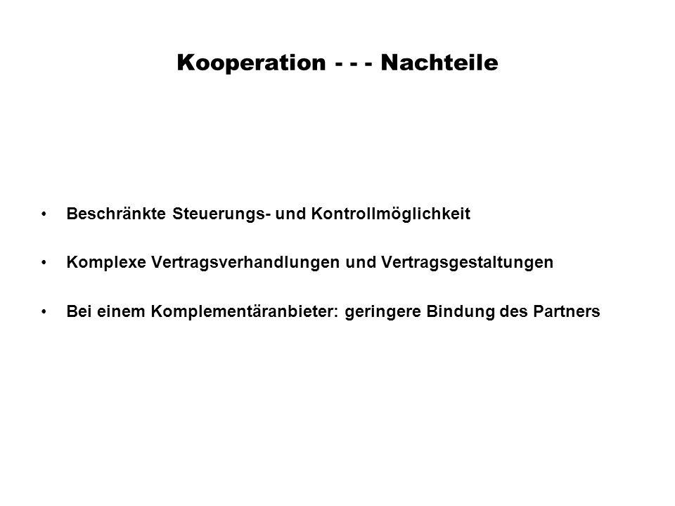 Kooperation - - - Nachteile Beschränkte Steuerungs- und Kontrollmöglichkeit Komplexe Vertragsverhandlungen und Vertragsgestaltungen Bei einem Kompleme