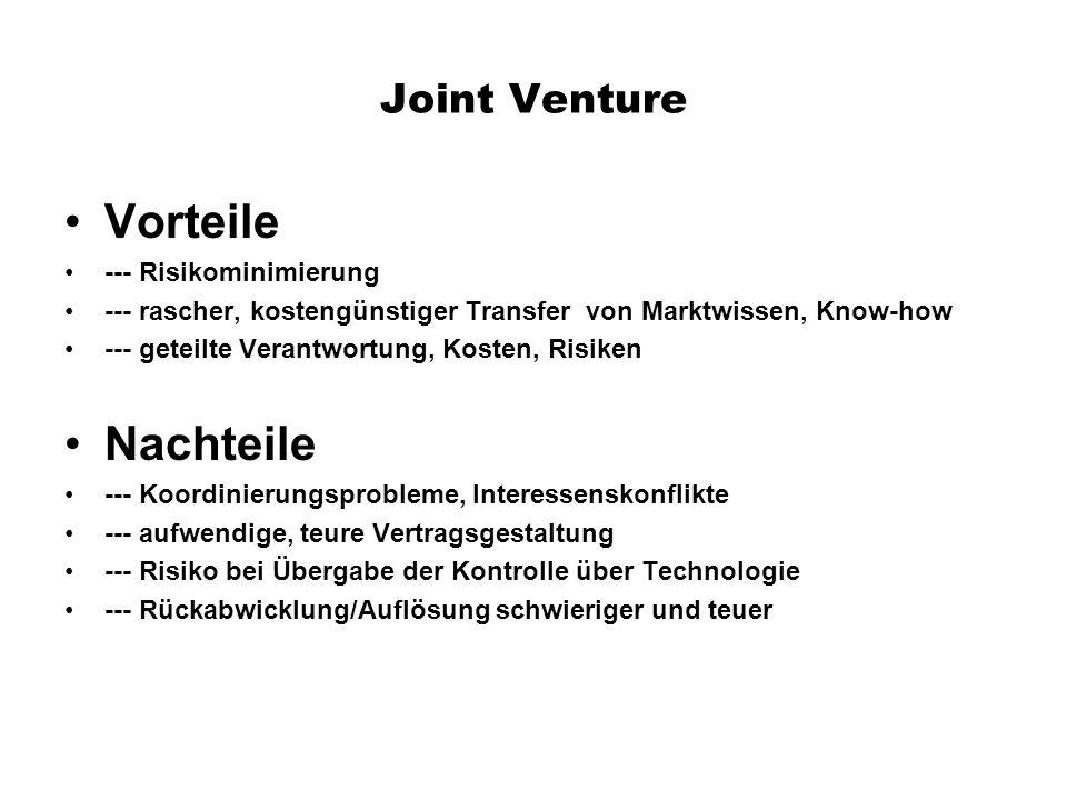 Joint Venture Vorteile --- Risikominimierung --- rascher, kostengünstiger Transfer von Marktwissen, Know-how --- geteilte Verantwortung, Kosten, Risik