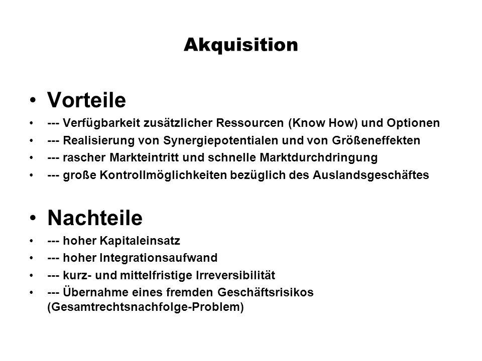 Akquisition Vorteile --- Verfügbarkeit zusätzlicher Ressourcen (Know How) und Optionen --- Realisierung von Synergiepotentialen und von Größeneffekten