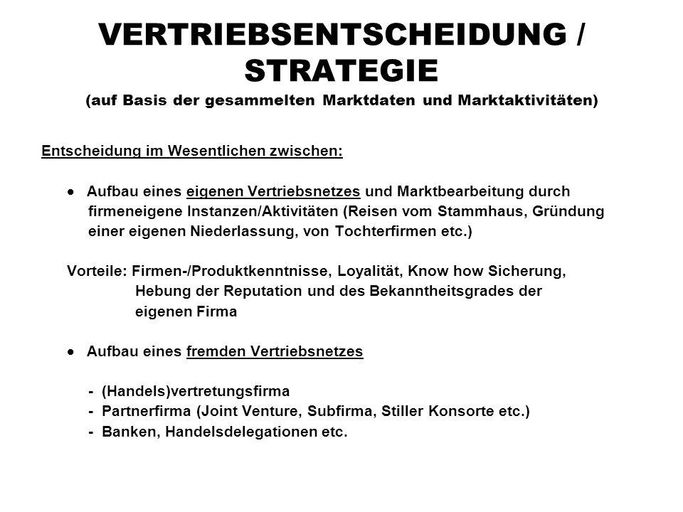 VERTRIEBSENTSCHEIDUNG / STRATEGIE (auf Basis der gesammelten Marktdaten und Marktaktivitäten) Entscheidung im Wesentlichen zwischen:  Aufbau eines ei
