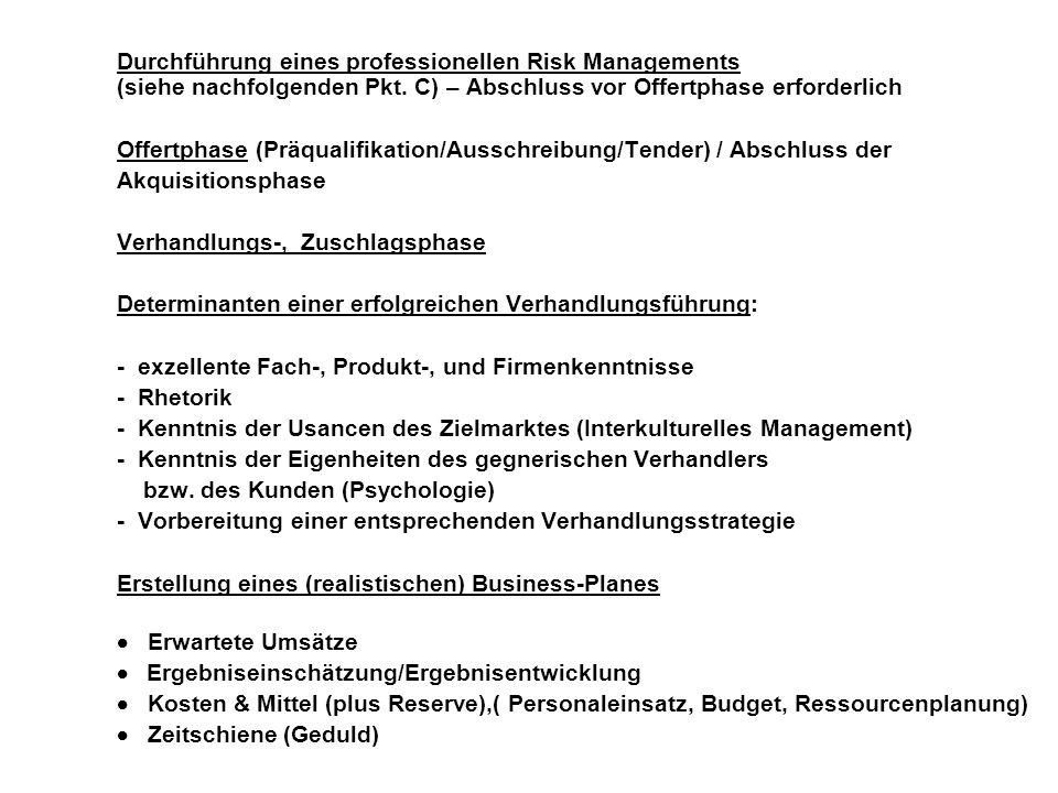 Durchführung eines professionellen Risk Managements (siehe nachfolgenden Pkt. C) – Abschluss vor Offertphase erforderlich Offertphase (Präqualifikatio