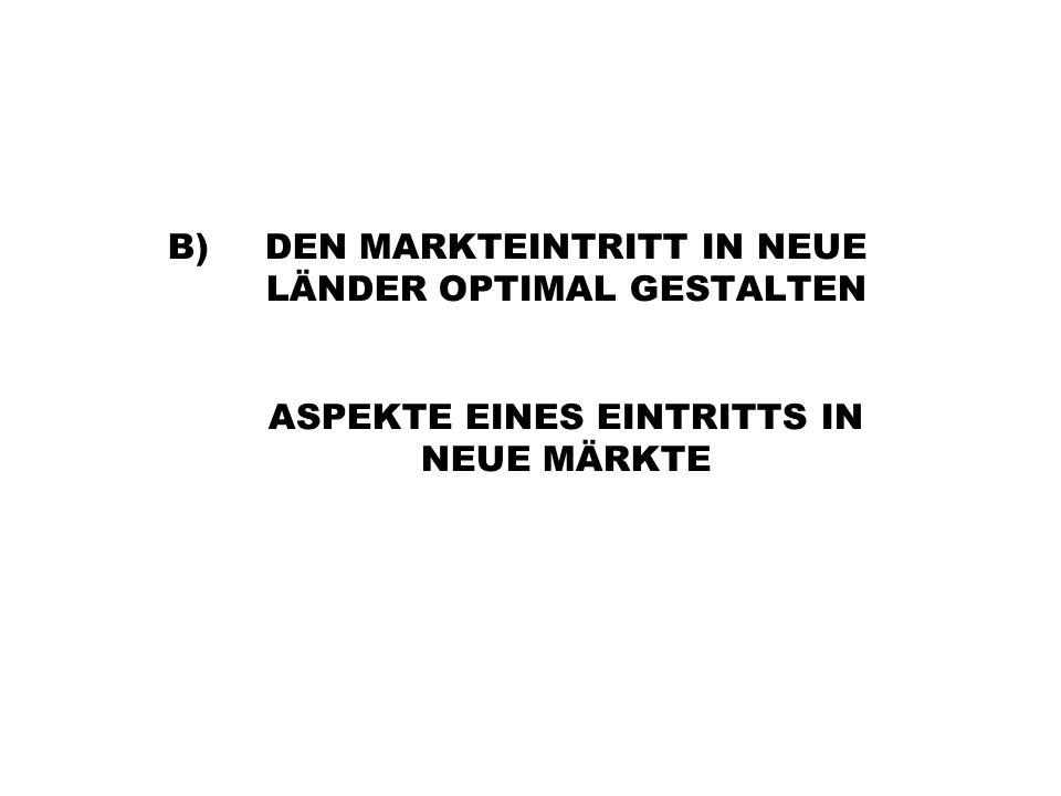 B)DEN MARKTEINTRITT IN NEUE LÄNDER OPTIMAL GESTALTEN ASPEKTE EINES EINTRITTS IN NEUE MÄRKTE