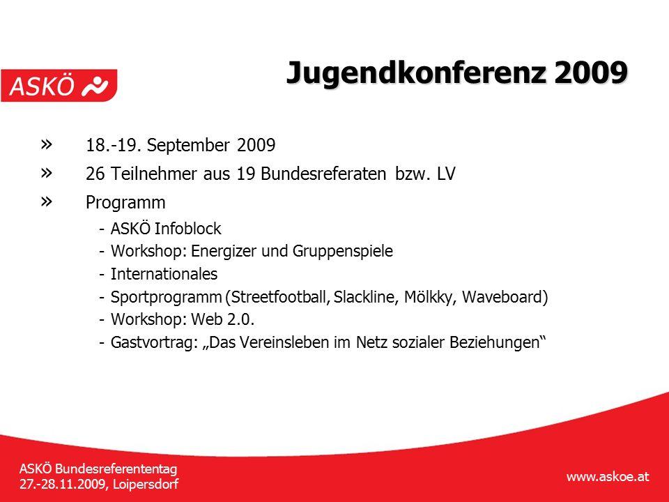 www.askoe.at ASKÖ Bundesreferententag 27.-28.11.2009, Loipersdorf Jugendkonferenz 2009 » 18.-19. September 2009 » 26 Teilnehmer aus 19 Bundesreferaten