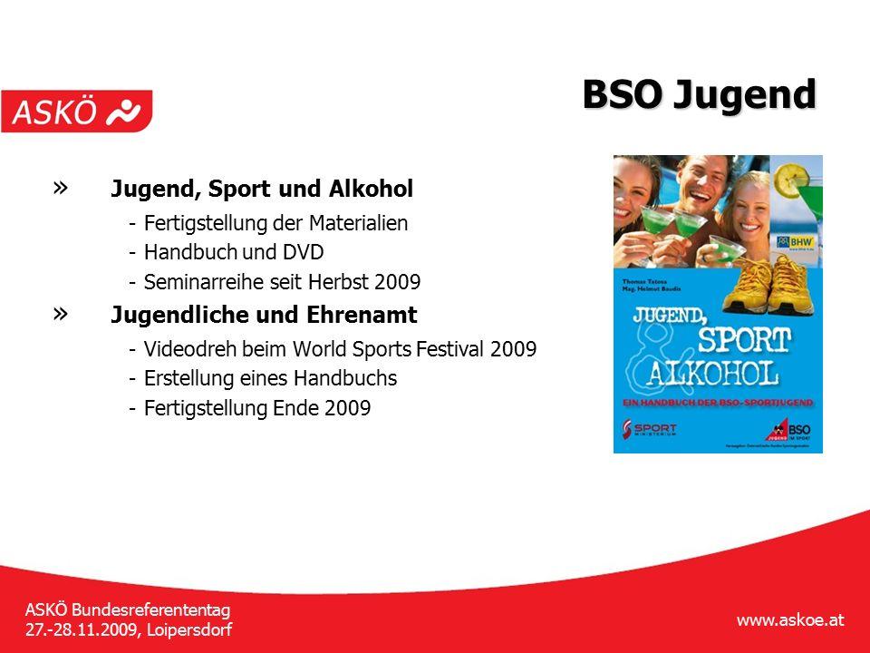 www.askoe.at ASKÖ Bundesreferententag 27.-28.11.2009, Loipersdorf BSO Jugend » Jugend, Sport und Alkohol - Fertigstellung der Materialien - Handbuch u