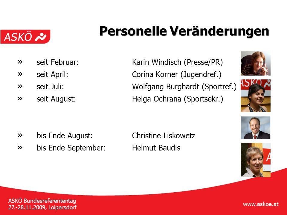 www.askoe.at ASKÖ Bundesreferententag 27.-28.11.2009, Loipersdorf Personelle Veränderungen » seit Februar:Karin Windisch (Presse/PR) » seit April:Cori
