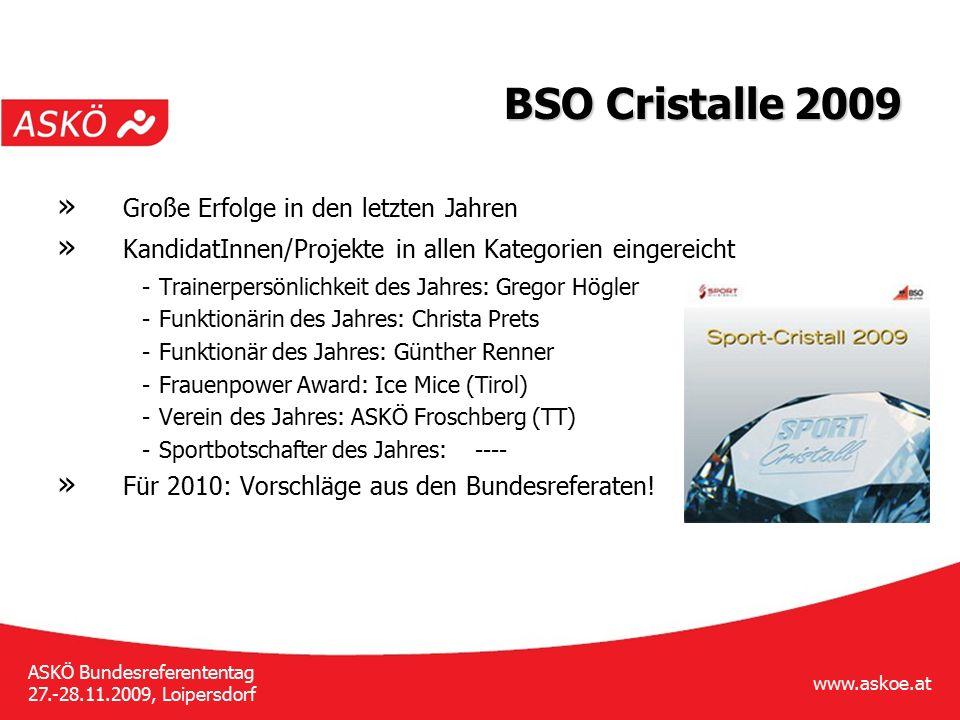 www.askoe.at ASKÖ Bundesreferententag 27.-28.11.2009, Loipersdorf BSO Cristalle 2009 » Große Erfolge in den letzten Jahren » KandidatInnen/Projekte in