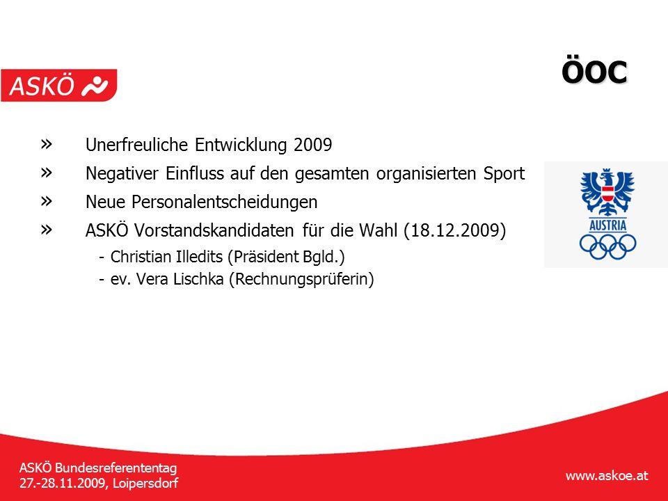 www.askoe.at ASKÖ Bundesreferententag 27.-28.11.2009, Loipersdorf ÖOC » Unerfreuliche Entwicklung 2009 » Negativer Einfluss auf den gesamten organisie