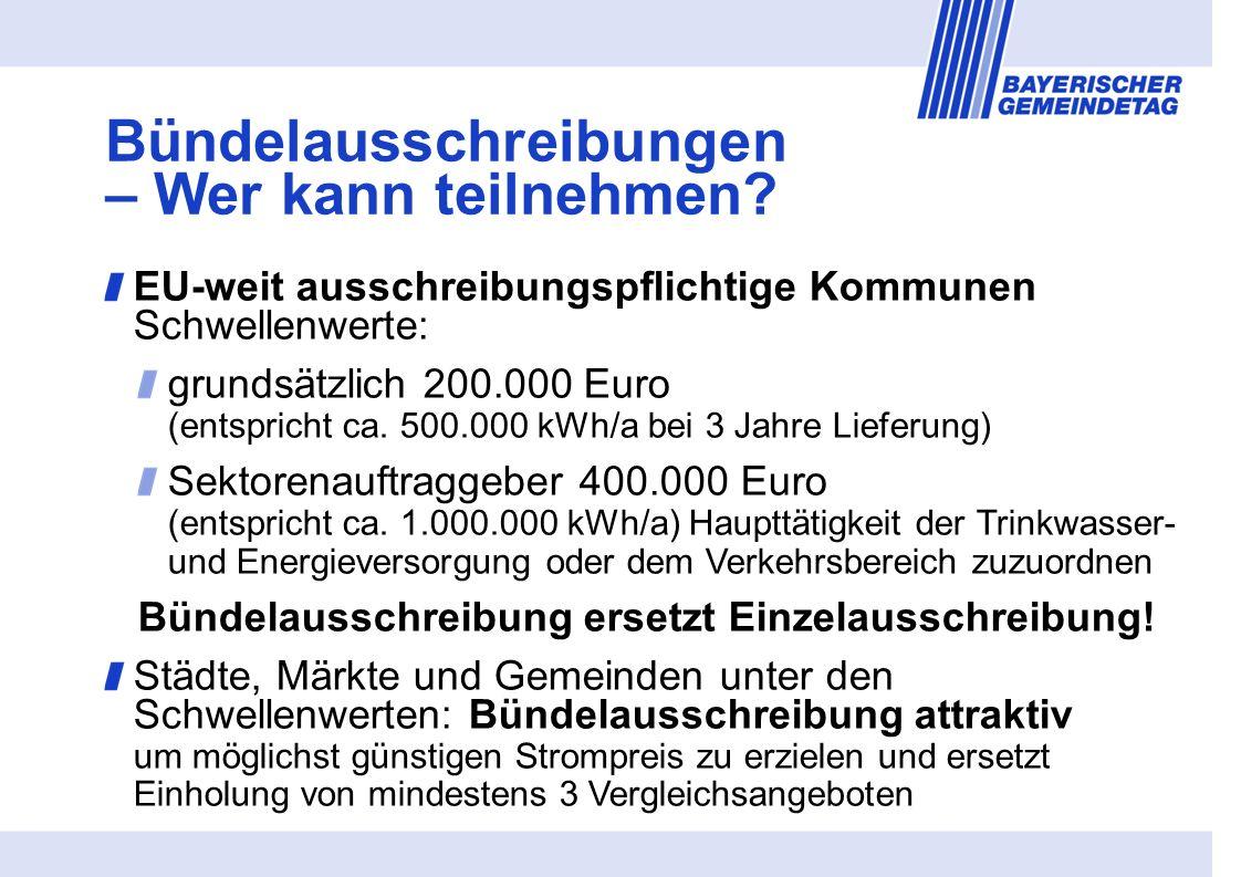 EU-weit ausschreibungspflichtige Kommunen Schwellenwerte: grundsätzlich 200.000 Euro (entspricht ca.