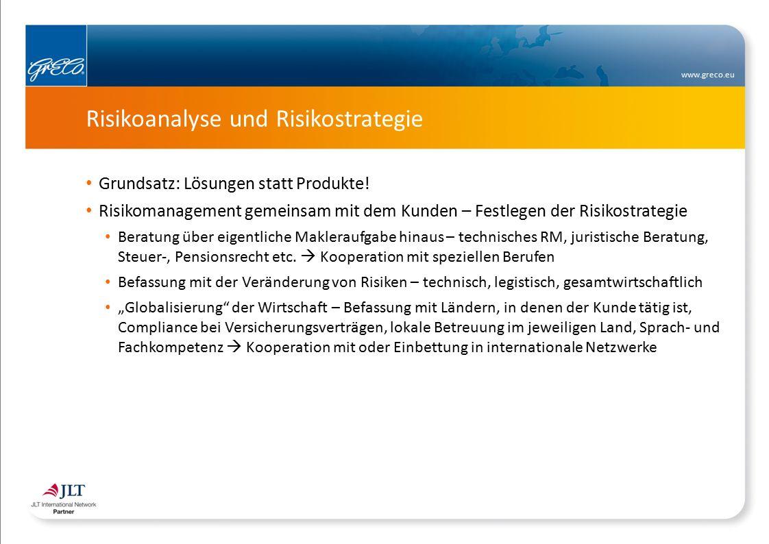 www.greco.eu Risikoanalyse und Risikostrategie Grundsatz: Lösungen statt Produkte.