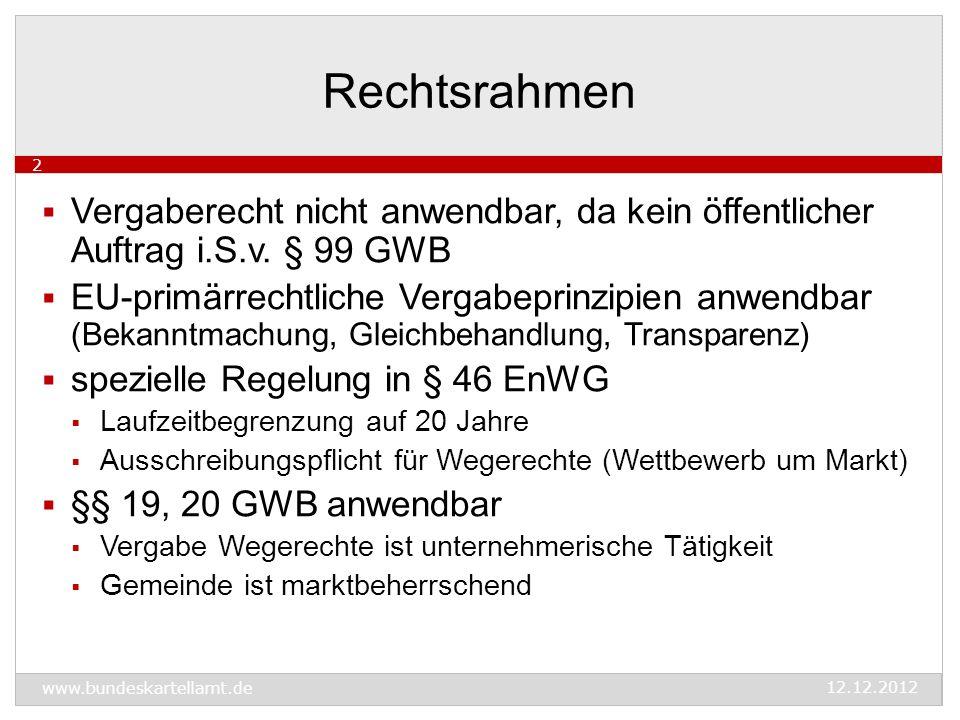 www.bundeskartellamt.de 12.12.2012 2  Vergaberecht nicht anwendbar, da kein öffentlicher Auftrag i.S.v.