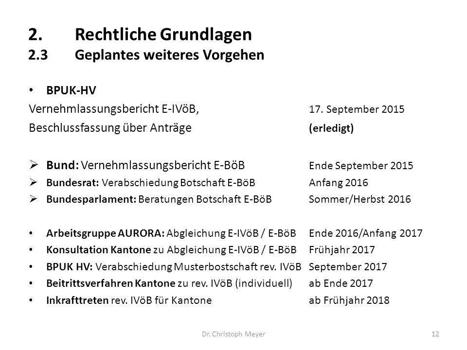 Dr. Christoph Meyer12 BPUK-HV Vernehmlassungsbericht E-IVöB, 17. September 2015 Beschlussfassung über Anträge (erledigt)  Bund: Vernehmlassungsberich
