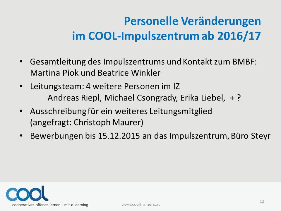 Personelle Veränderungen im COOL-Impulszentrum ab 2016/17 Gesamtleitung des Impulszentrums und Kontakt zum BMBF: Martina Piok und Beatrice Winkler Lei