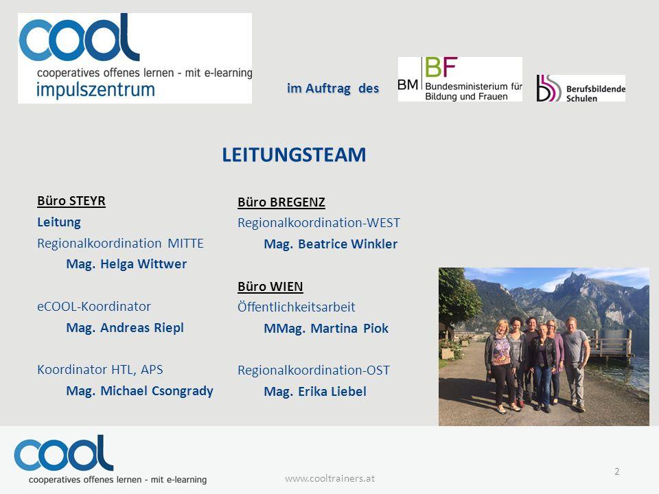 im Auftrag des im Auftrag des LEITUNGSTEAM Büro STEYR Leitung Regionalkoordination MITTE Mag.