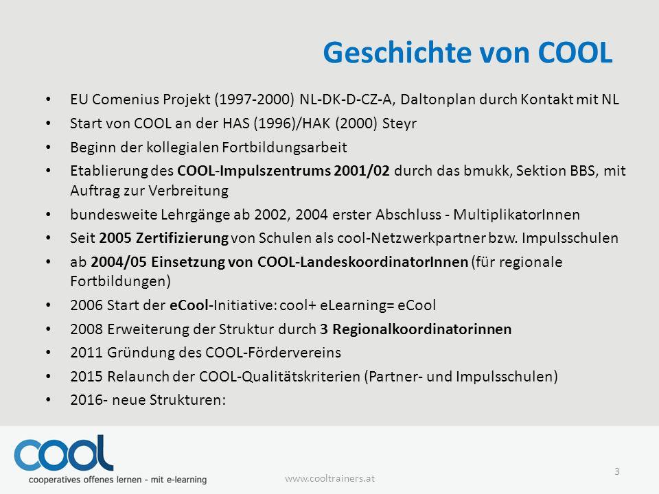 Geschichte von COOL EU Comenius Projekt (1997-2000) NL-DK-D-CZ-A, Daltonplan durch Kontakt mit NL Start von COOL an der HAS (1996)/HAK (2000) Steyr Beginn der kollegialen Fortbildungsarbeit Etablierung des COOL-Impulszentrums 2001/02 durch das bmukk, Sektion BBS, mit Auftrag zur Verbreitung bundesweite Lehrgänge ab 2002, 2004 erster Abschluss - MultiplikatorInnen Seit 2005 Zertifizierung von Schulen als cool-Netzwerkpartner bzw.