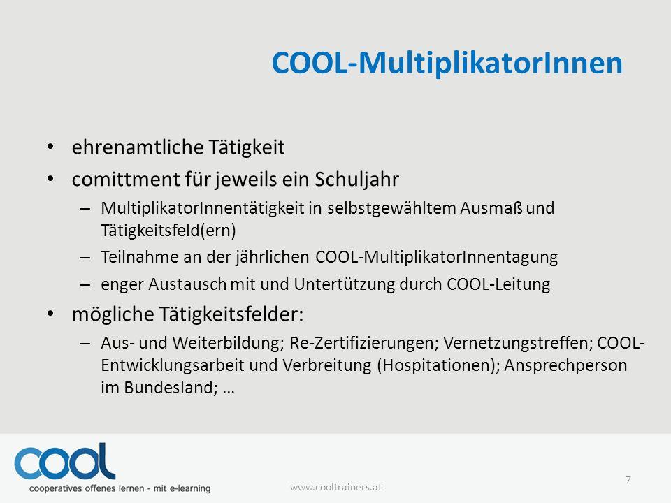 COOL-MultiplikatorInnen ehrenamtliche Tätigkeit comittment für jeweils ein Schuljahr – MultiplikatorInnentätigkeit in selbstgewähltem Ausmaß und Tätig