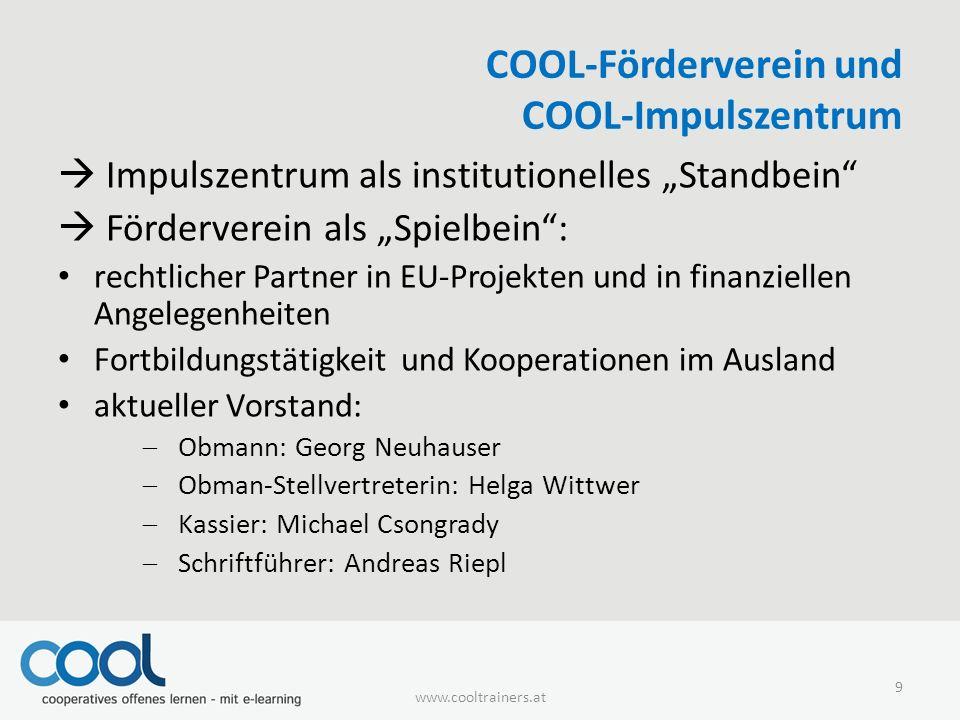 """COOL-Förderverein und COOL-Impulszentrum  Impulszentrum als institutionelles """"Standbein""""  Förderverein als """"Spielbein"""": rechtlicher Partner in EU-Pr"""