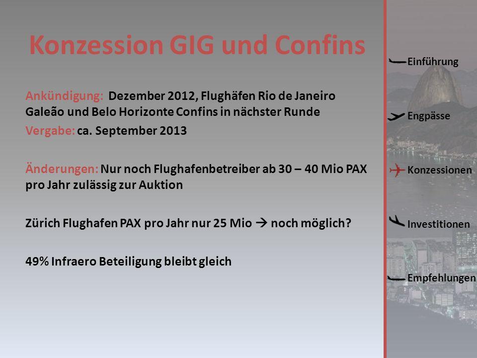 Konzession GIG und Confins Ankündigung: Dezember 2012, Flughäfen Rio de Janeiro Galeão und Belo Horizonte Confins in nächster Runde Vergabe: ca.