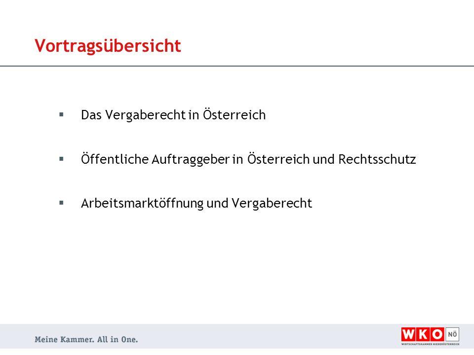 Vortragsübersicht  Das Vergaberecht in Österreich  Öffentliche Auftraggeber in Österreich und Rechtsschutz  Arbeitsmarktöffnung und Vergaberecht