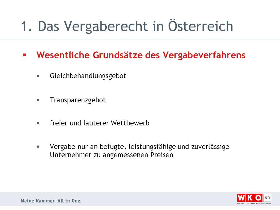 1.Das Vergaberecht in Österreich  Wesentliche Grundsätze des Vergabeverfahrens  Gleichbehandlungsgebot  Transparenzgebot  freier und lauterer Wettbewerb  Vergabe nur an befugte, leistungsfähige und zuverlässige Unternehmer zu angemessenen Preisen