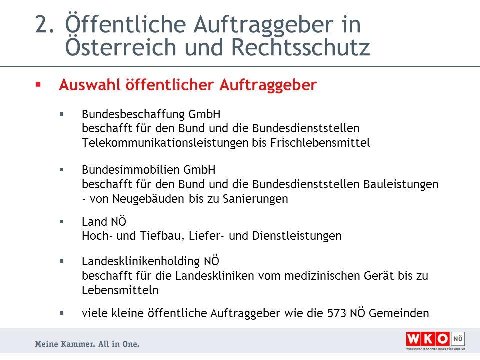 2.Öffentliche Auftraggeber in Österreich und Rechtsschutz  Links öffentliche Auftraggeber  Bundesbeschaffung GmbH www.bbg.gv.at  Bundesimmobilien GmbH http://www.big.at  Land NÖ Hoch- und Tiefbau, Liefer- und Dienstleistungen http://www.noe.gv.at/Wirtschaft- Arbeit/Ausschreibungen/Aktuelle-Ausschreibungen.html  Landesklinikenholding NÖ http://www.lknoe.at