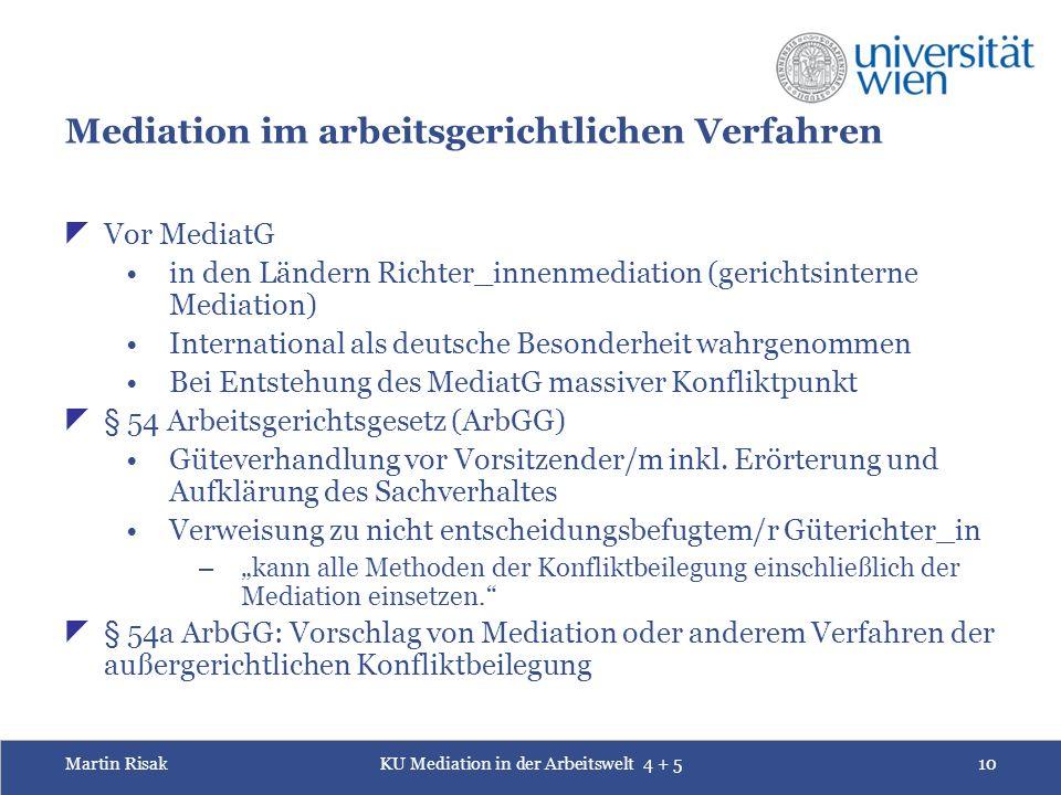 Martin RisakKU Mediation in der Arbeitswelt 4 + 510 Mediation im arbeitsgerichtlichen Verfahren  Vor MediatG in den Ländern Richter_innenmediation (g