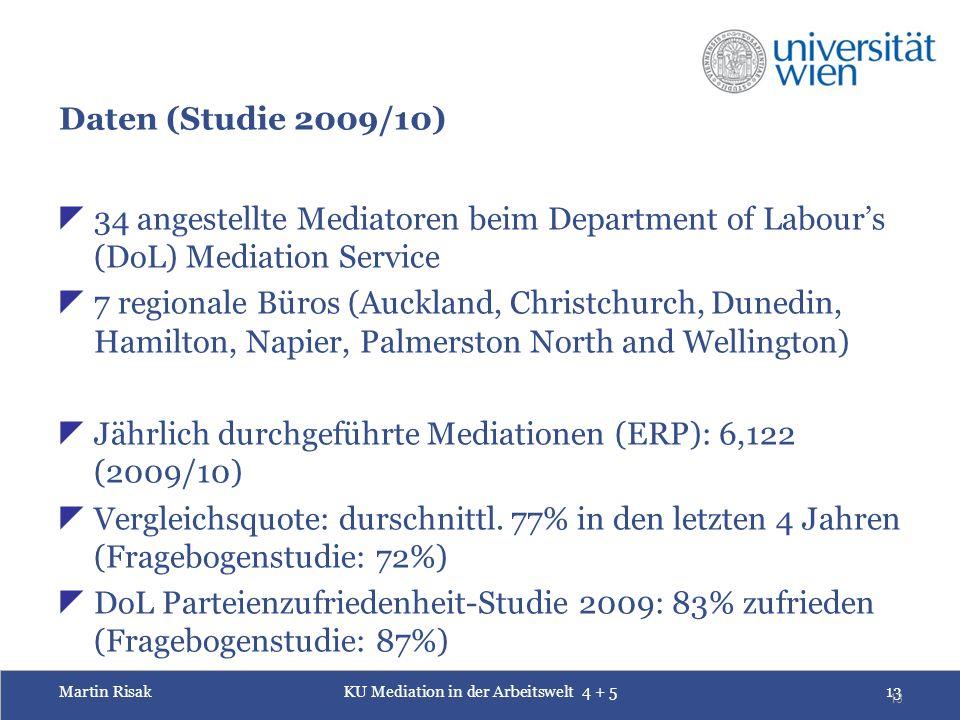 Martin RisakKU Mediation in der Arbeitswelt 4 + 513 13 Daten (Studie 2009/10)  34 angestellte Mediatoren beim Department of Labour's (DoL) Mediation