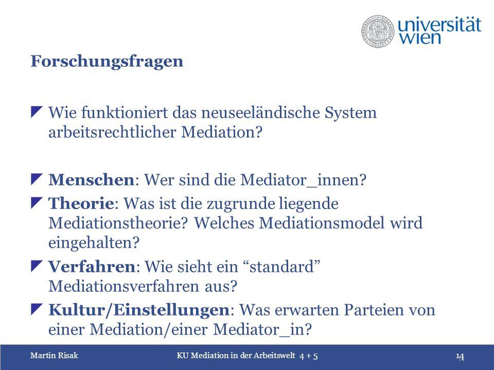 Martin RisakKU Mediation in der Arbeitswelt 4 + 514 14 Forschungsfragen  Wie funktioniert das neuseeländische System arbeitsrechtlicher Mediation.
