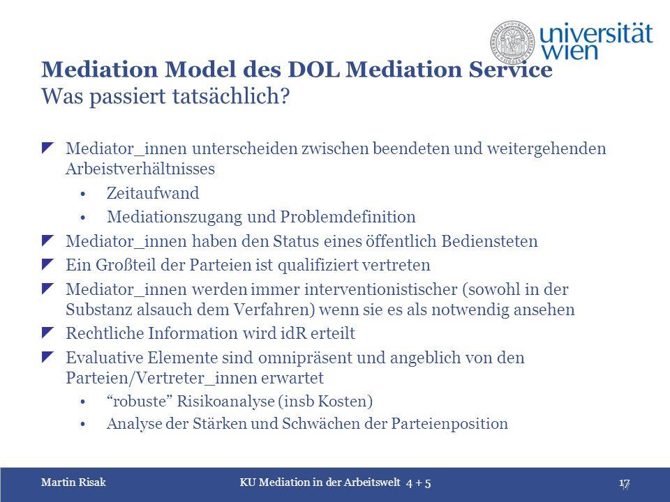 Martin RisakKU Mediation in der Arbeitswelt 4 + 517 17 Mediation Model des DOL Mediation Service Was passiert tatsächlich?  Mediator_innen unterschei