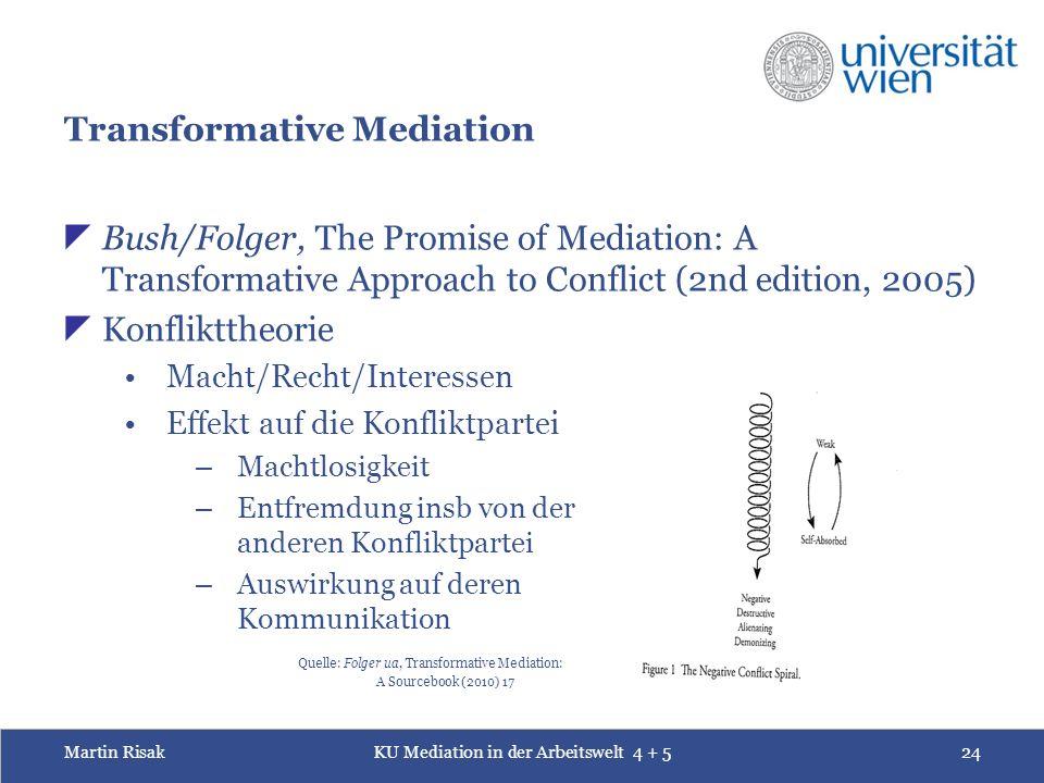 Martin RisakKU Mediation in der Arbeitswelt 4 + 524 Transformative Mediation  Bush/Folger, The Promise of Mediation: A Transformative Approach to Con