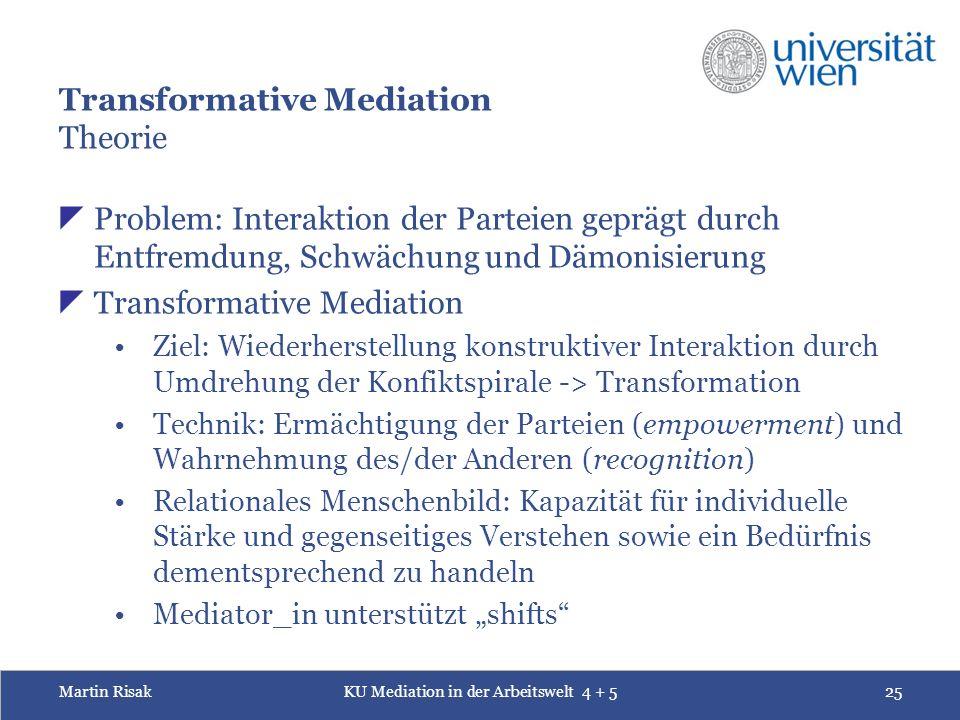 Martin RisakKU Mediation in der Arbeitswelt 4 + 525 Transformative Mediation Theorie  Problem: Interaktion der Parteien geprägt durch Entfremdung, Sc