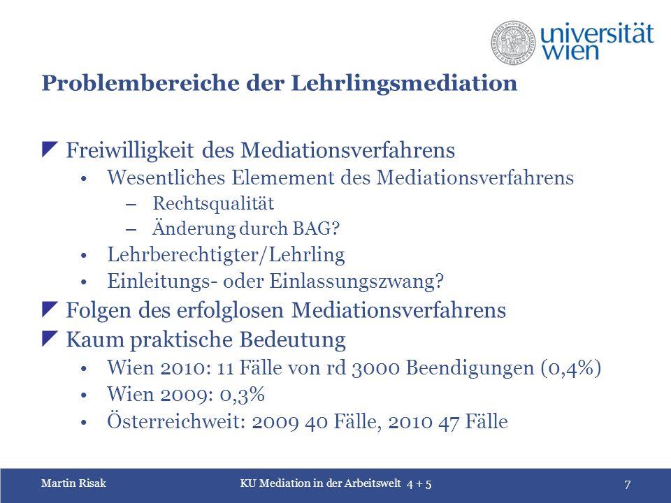 Martin RisakKU Mediation in der Arbeitswelt 4 + 57 Problembereiche der Lehrlingsmediation  Freiwilligkeit des Mediationsverfahrens Wesentliches Elemement des Mediationsverfahrens – Rechtsqualität – Änderung durch BAG.