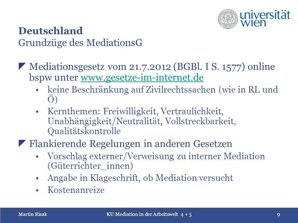Martin RisakKU Mediation in der Arbeitswelt 4 + 520 20 Vorbereitungsphase Request for mediation/referral to mediation Information offered by parties (briefs, documents) Assignment of mediator Additional information requested by mediator Separate preliminary sessions on day of the mediation