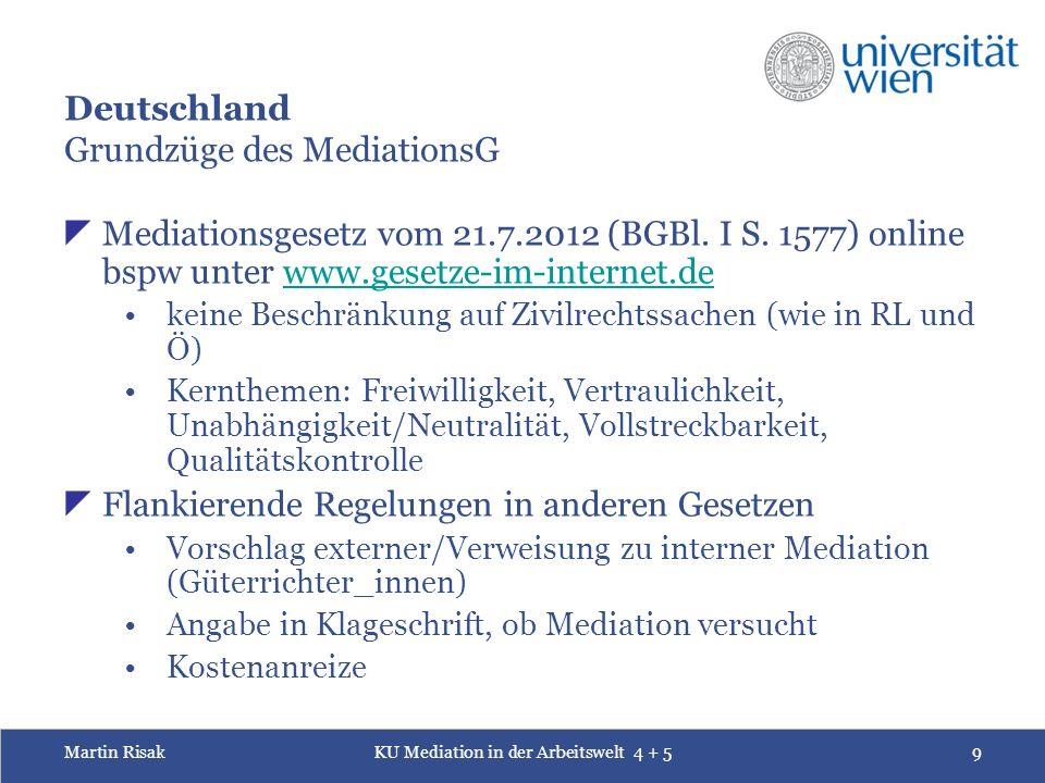 Martin RisakKU Mediation in der Arbeitswelt 4 + 59 Deutschland Grundzüge des MediationsG  Mediationsgesetz vom 21.7.2012 (BGBl.