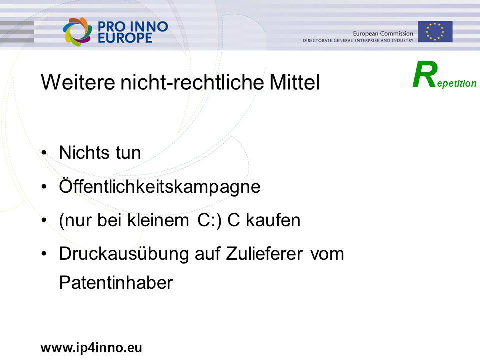 www.ip4inno.eu Weitere nicht-rechtliche Mittel Nichts tun Öffentlichkeitskampagne (nur bei kleinem C:) C kaufen Druckausübung auf Zulieferer vom Paten