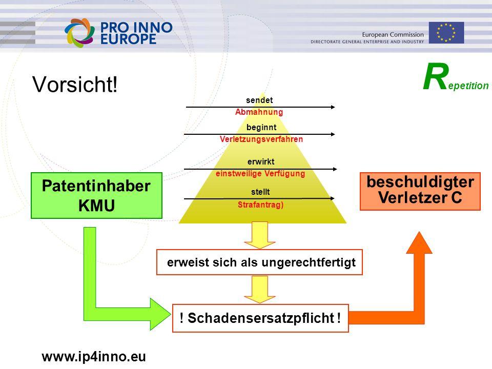 www.ip4inno.eu Vorsicht! Patentinhaber KMU beschuldigter Verletzer C R epetition sendet Abmahnung beginnt Verletzungsverfahren erwirkt einstweilige Ve