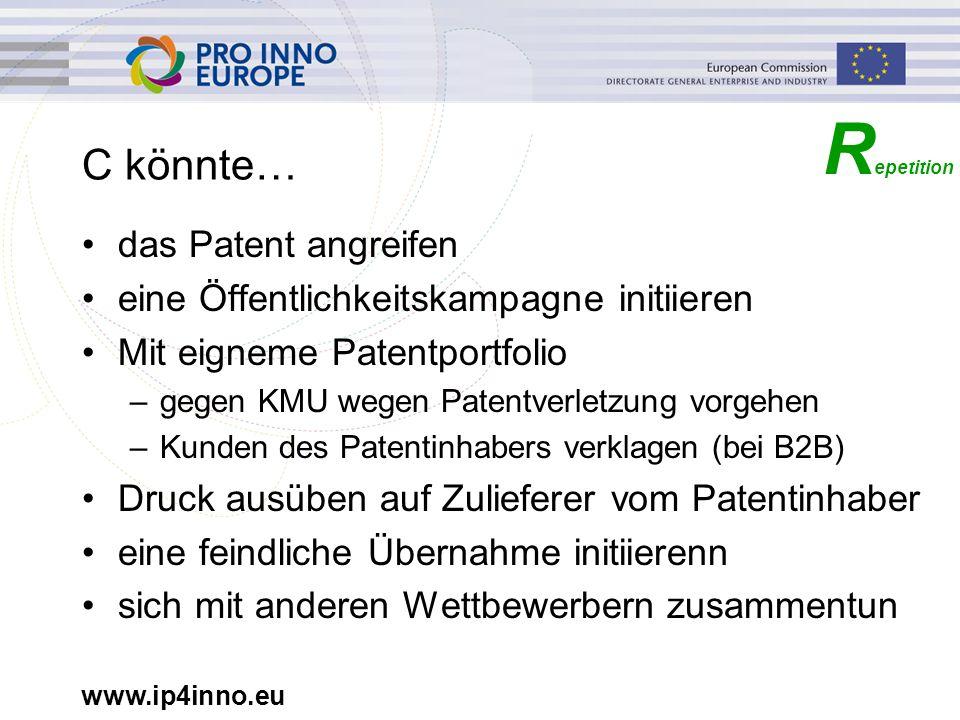 www.ip4inno.eu C könnte… das Patent angreifen eine Öffentlichkeitskampagne initiieren Mit eigneme Patentportfolio –gegen KMU wegen Patentverletzung vo