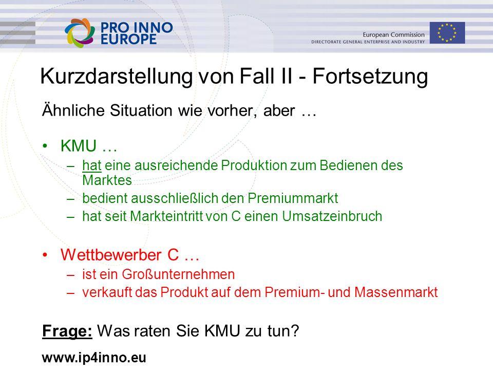 www.ip4inno.eu Kurzdarstellung von Fall II - Fortsetzung Ähnliche Situation wie vorher, aber … KMU … –hat eine ausreichende Produktion zum Bedienen de