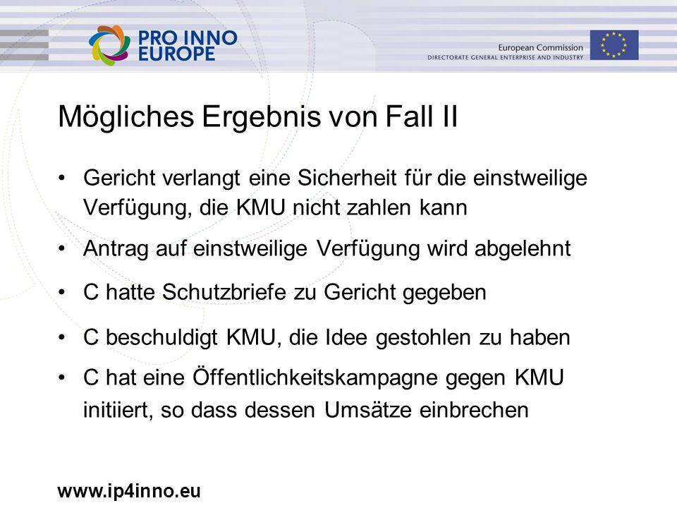 www.ip4inno.eu Mögliches Ergebnis von Fall II Gericht verlangt eine Sicherheit für die einstweilige Verfügung, die KMU nicht zahlen kann Antrag auf ei