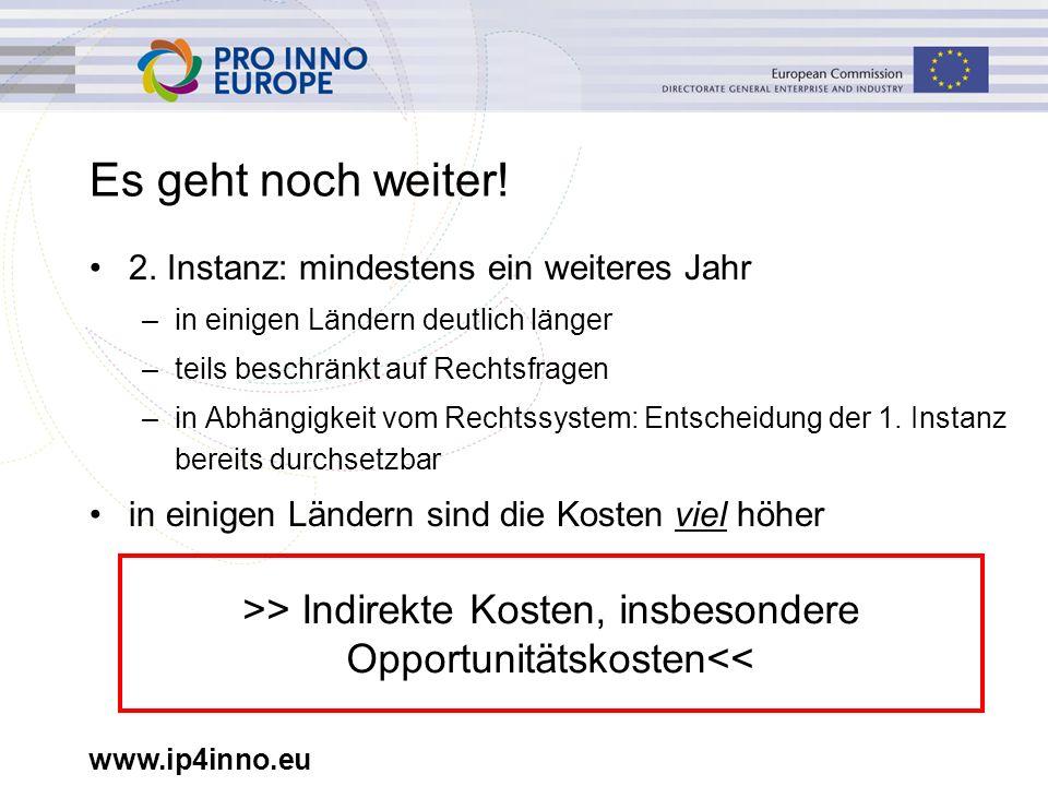 www.ip4inno.eu Es geht noch weiter! 2. Instanz: mindestens ein weiteres Jahr –in einigen Ländern deutlich länger –teils beschränkt auf Rechtsfragen –i