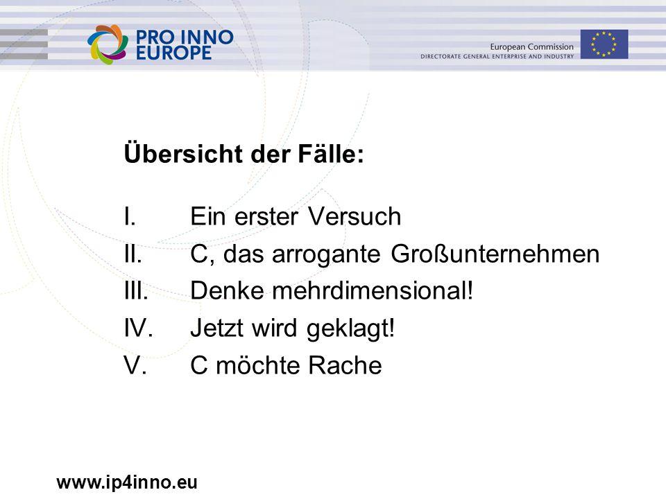 www.ip4inno.eu Übersicht der Fälle: I.Ein erster Versuch II.C, das arrogante Großunternehmen III.Denke mehrdimensional! IV.Jetzt wird geklagt! V.C möc
