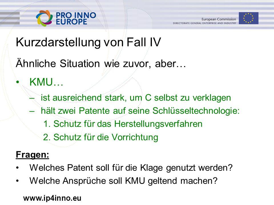 www.ip4inno.eu Kurzdarstellung von Fall IV Ähnliche Situation wie zuvor, aber… KMU… –ist ausreichend stark, um C selbst zu verklagen –hält zwei Patent
